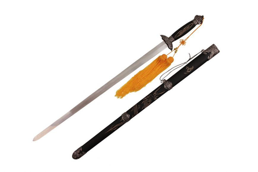 "39 1/2"" Tai Chi Sword w/ Carved Dragon on Scabbard"