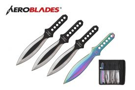 7.5 Inches 4 Pcs Set Silver Wings Throwing Knives
