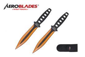 7.5-inch 2pc Set Gold Black Blade Thrower