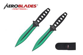 7.5-inch 2pc Set Green Black Blade Thrower
