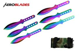 6.5 rainbow silver wings 6pc throwing knife set-inch