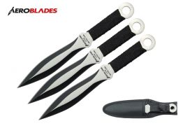 "6.5"" 3 pc set two tone blade throwing knives wrapped cord"