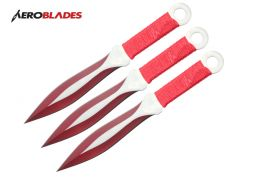 6.5 red 3 pcs set two tone blade throwing knife-inch