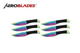 6.5 rainbow 6pc throwing knife set with black wrapped handl-inch