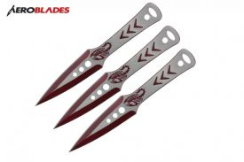9 3 pcs set two tone  RED throwing knife-inch