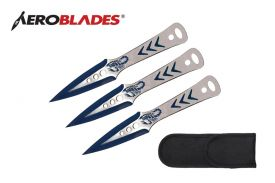 9 3 pcs set two tone BLUE throwing knife-inch