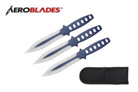9 3 pc set two tone BLUE Throwing knife-inch