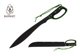 24.5-inch Length, Stainless Steel Blade, Black   Green ABS Handle, Nylon Sheath