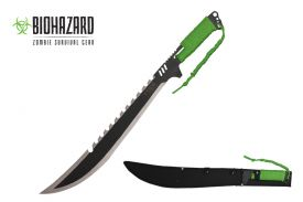 24.5 Machete has two tone sawtooth blade green cord wrappe-inch