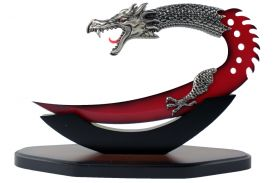 "9"" Red Version Dragon Dagger w/ Wood Display Base"