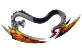 """9"""" Dual Dragon Knives With Colorful Yellow and Orange Mural On the Blades With Wooden Display Base"""