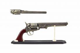 "11"" Replica Brass Revolver w/ Display Stand"