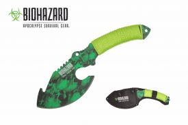 11-inch green skull axe with paracord wrapped handle