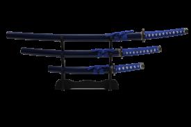 3PCS SWORD SET DARK BLUE W STAND SV SILVER GUARD