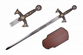 47-inch Crusader Sword Chrome w  Wooden Plaque