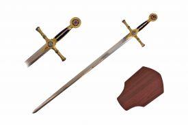 38-inch Blue Mason G Sword w  Wooden Plaque