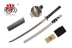 41-inch Damascus blade, black scabbard, black wrapped handle. Tsuba:Zinc alloy plated black and gold