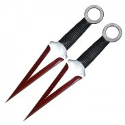 2PC 12-inch two tone red kunai with cord wrapped handle