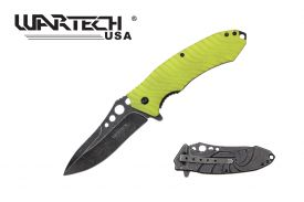 "8.5"" Stonewashed Wartech Knife with Lime colored handle"