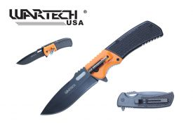 "8 1/2"" Non-Spring Assisted Drop Point Blade Plastic Handle Includes Belt Clip & LED Light (Orange)"