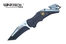 Wartech Thumb Open Spring Assisted Two Color Aluminum Emblem Handle Tactical Pocket Knife (Grey)
