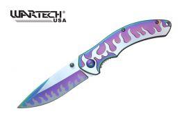 "7 3/4"" Assisted Open Pocket Knife w/ Embossed Flames Design"