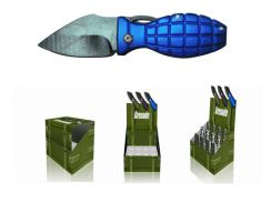 "4 3/8"" 12  Pcs. Mini Grenade Knives w/ Keychain"