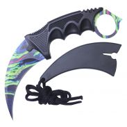 """7.5"""" Full Tang Karambit with Hard Sheath & Necklace (Neon Marble)"""