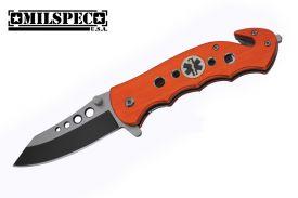 Wartech Thumb Open Spring Assisted Color Aluminum Handle With Emblem Pocket Knife (Orange)