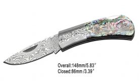 "7"" Folding Knife w/ Authentic Damascus Blade & Genuine Stag Handle"