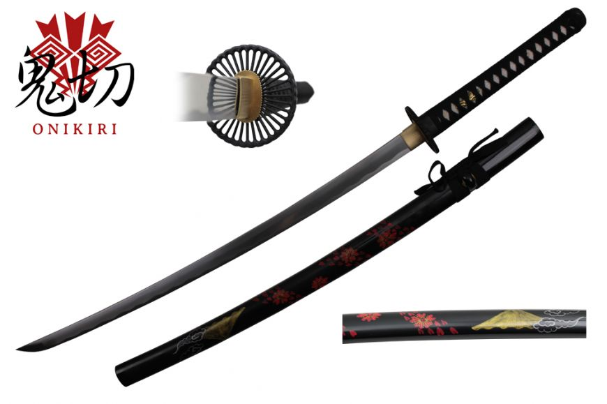1045 full tang carbon steel, black scabbard with hand painted FuJi mountain design