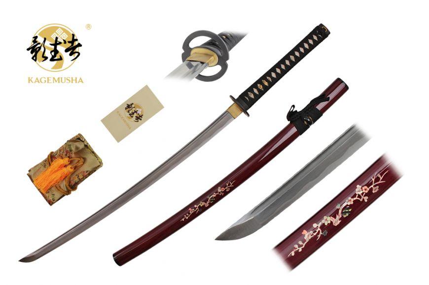 41-inch Handmade Damascus Sword. Real Ray Skin Handle. Silk sword Bag, certificated 2400 layers
