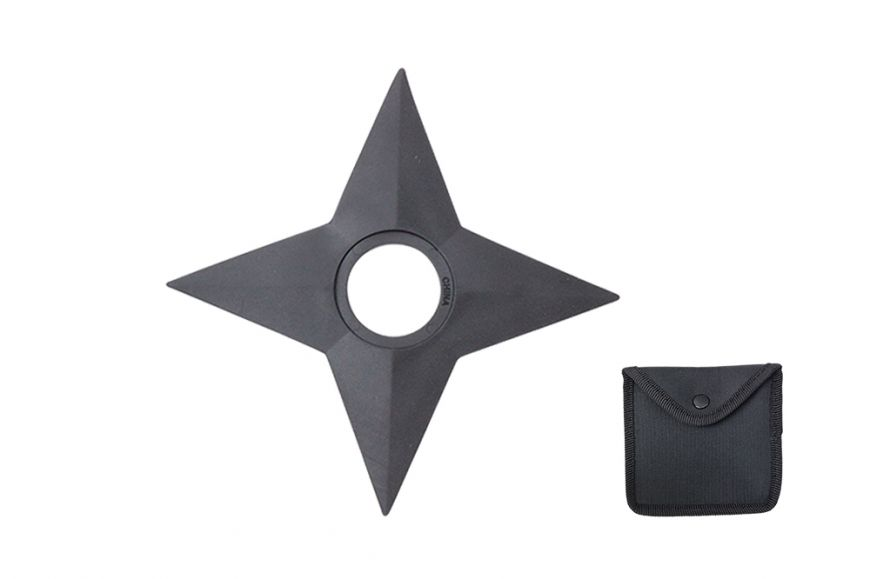 """5"""" Black Rubber Training 4 Point Rubber Throwing Star, includes Sheath"""