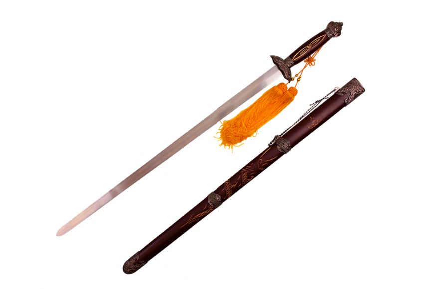 "39 1/2"" Tai Chi Sword w/ Carved Dragon on Scabbard"