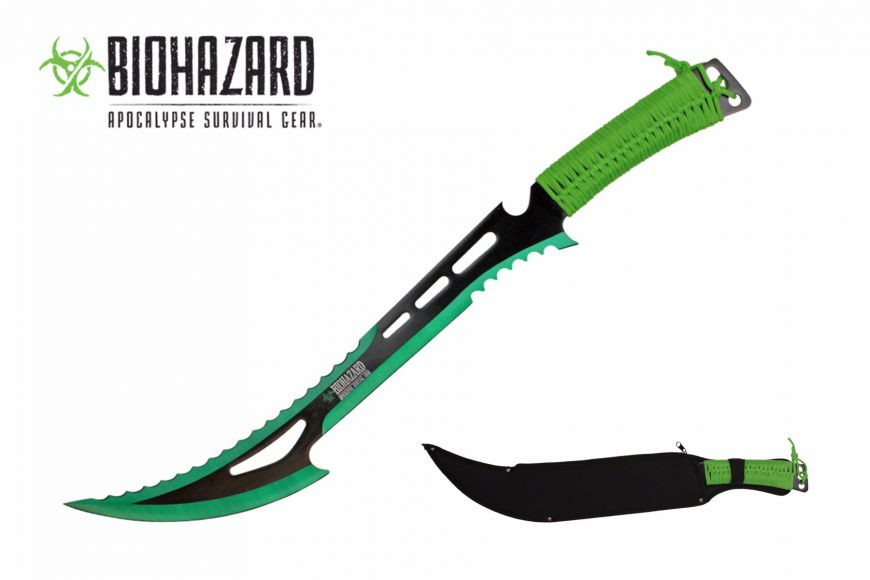 24-inch Length, Stainless Steel Blade, Green Paracord Wrapped Handle, Nylon Sheath