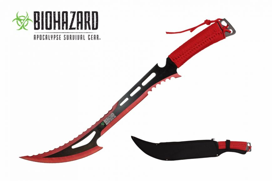24-inch Length, Stainless Steel Blade, Red Paracord Wrapped Handle, Nylon Sheath