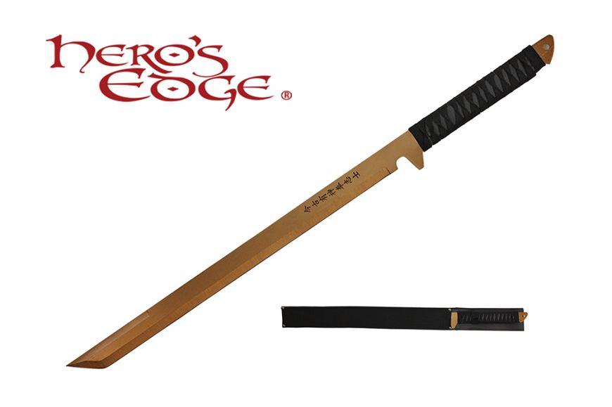 27-inch 440 Stainlees Steel Gold Blade Sword w  Sheath