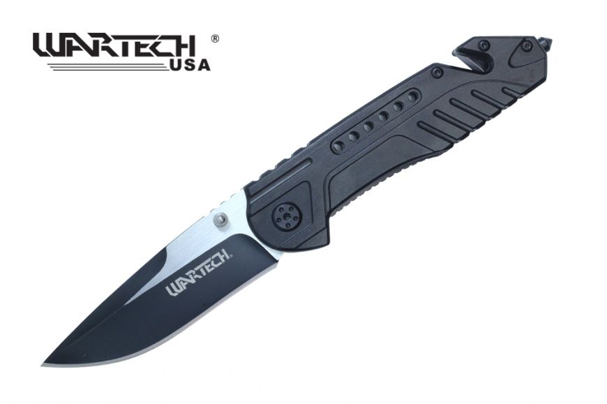 Wartech Thumb Open Spring Assisted Aluminum Handle Pocket Knife Two Tone Blade (Black)