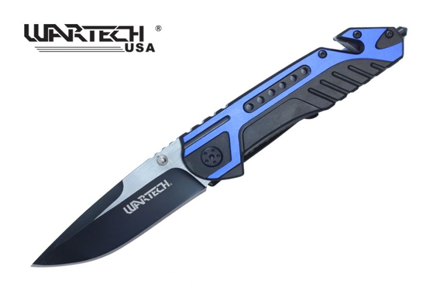 Wartech Thumb Open Spring Assisted Aluminum Handle Pocket Knife Two Tone Blade (Blue)