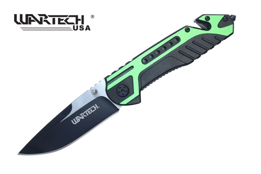 Wartech Thumb Open Spring Assisted Aluminum Handle Pocket Knife Two Tone Blade (Green)