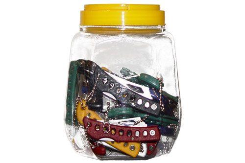 "24 Pcs.  5 1/2"" Jar of Pocket Knives, Serrated Blade w/ Plastic Handle"