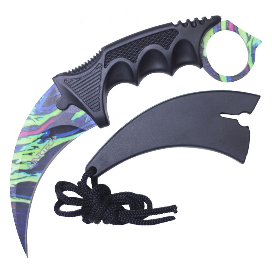 "7.5"" Full Tang Karambit with Hard Sheath & Necklace (Neon Marble)"