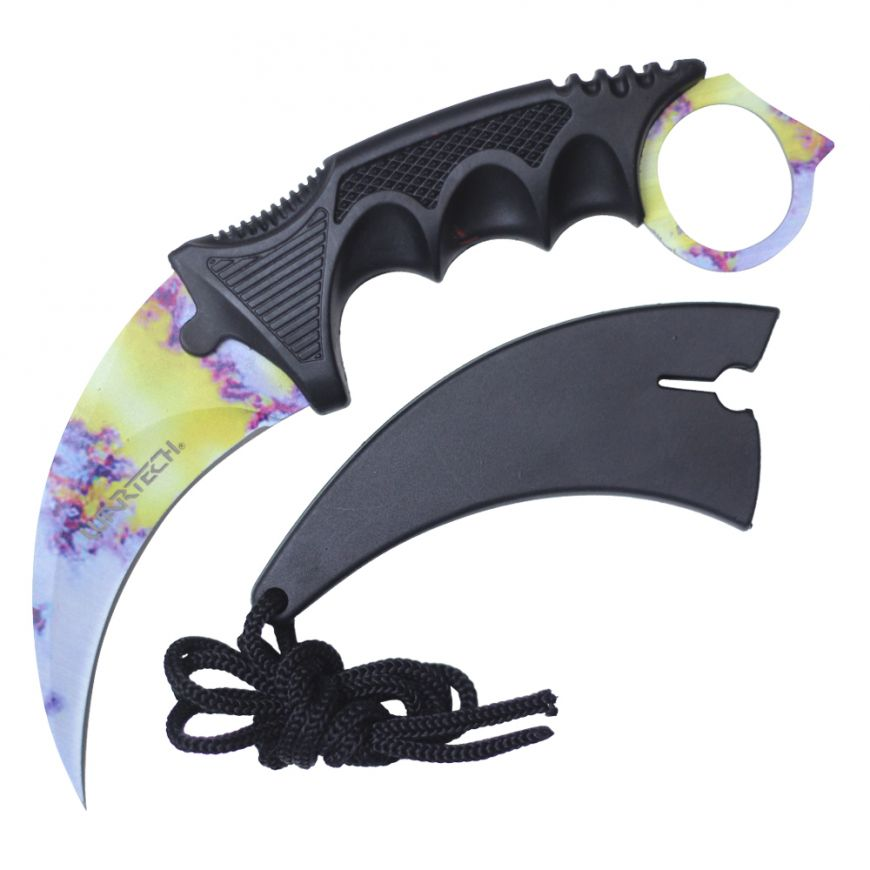 "7.5"" Full Tang Karambit with Hard Sheath & Necklace (Cotton Candy)"