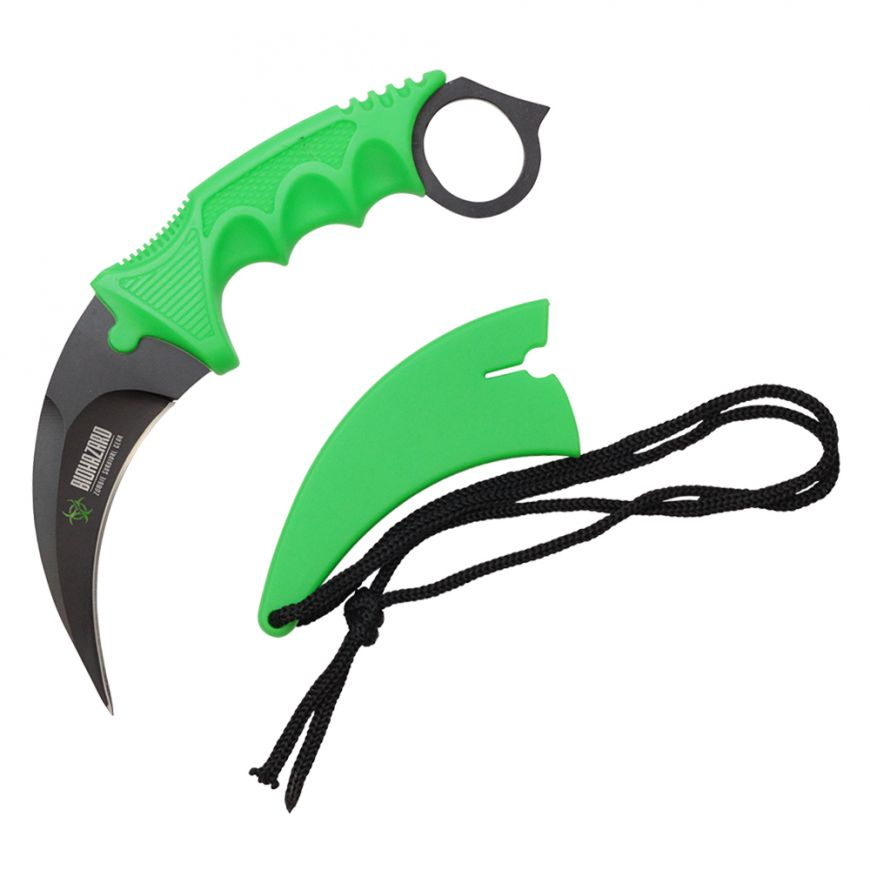 Green 7.5-inch Length, Stainless Steel Blade, Green ABS Handle, Hard Plastic Sheath