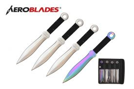 7.5 INCHES 4PCS SET SILVER WINGS THROWING KNIVES