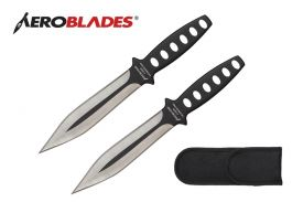 7.5 inches 2 pcs Double Edged Throwing Knives Set w/ Holes in Handle