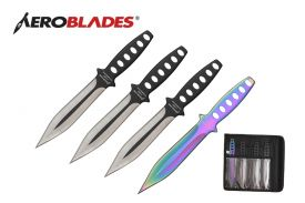 7.5 INCHES 4 PCS DOUBLE EDGED THROWING KNIVES SET W/ HOLES IN HANDLE