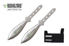 """5.5"""" 2 pc set biohazard throwing knives"""