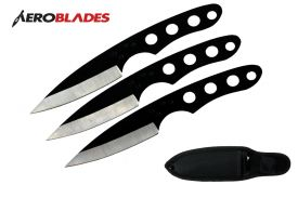6.5 black 3pc throwing knife set-inch