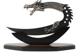 "9"" Dragon Dagger w/ Wood Display Base (Black Version)"